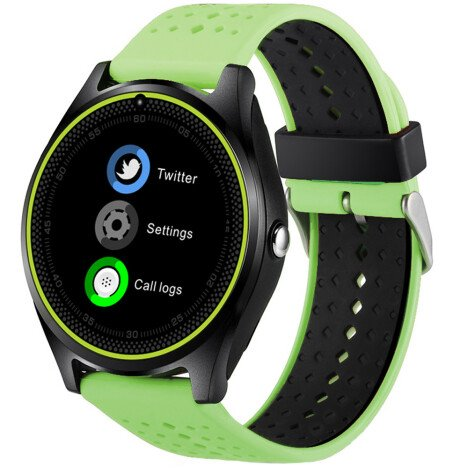Ceas Smartwatch cu Telefon iUni V9 Plus, Touchscreen, 1.3 Inch HD, Camera 2MP, iOS si Android, Verde